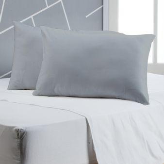 -Juego-de-2-almohadas-en-tela-Microfibra-Gris-Medio-