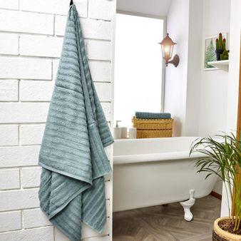 Set-x2-Toalla-de-baño-algodon-470-gsm-bisel-Verde-Medio
