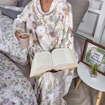 Manta-con-mangas-en-tela-flannel-fleece-estampada-Flores