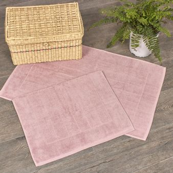 Juego-de-2-Tapetes-de-baño-tipo-toalla-algodon-900-gsm-rosa-claro